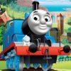 Strandhanddoek Thomas de trein. Mooie grote handdoek van Thomas de trein. Strandlaken van Thomas de trein.