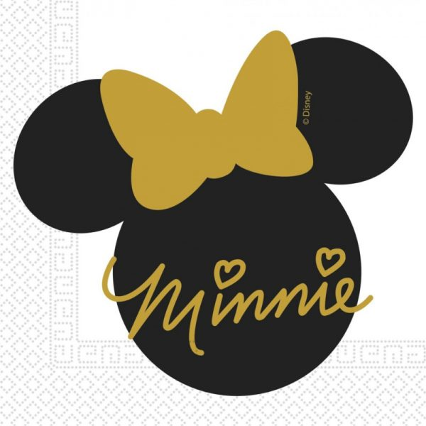 minnie mouse servetten zwart goud