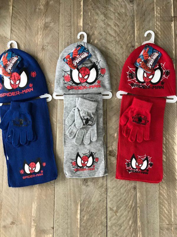 wintersetje spiderman, handschoenen, muts, sjaal
