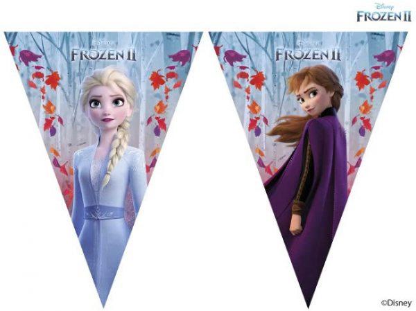 Frozen 2 vlaggetjes voor een frozen feestje, slinger met anna en elsa